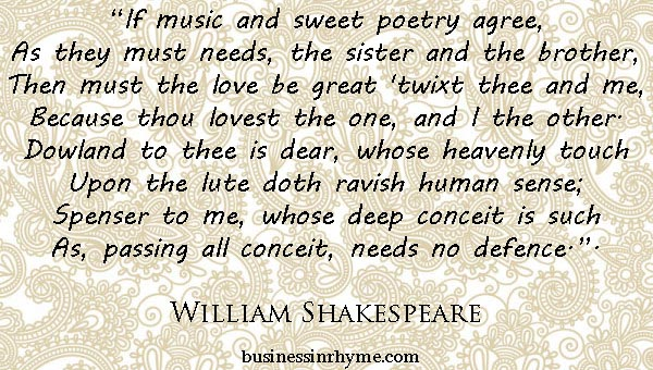 william shakespeare most famous poems
